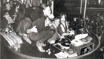 Studio 54 DJ booth with Diana Ross, Steve Rubell and Richie Kaczor