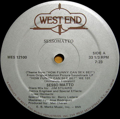 WestEnd Records Sessomatto 12-inch release with - Special Thanks to Barry Lederer