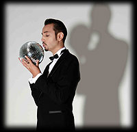 Dimitri from Paris kissing Disco ball