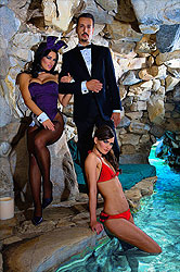 Dimitri poolside with Playmates