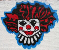 FunHouse clown - mural painting