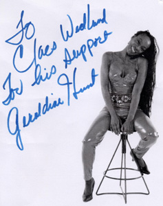 Geraldine Hunt signed photo - To Claes Widlund -discoguy- For his support