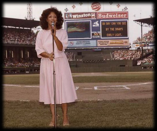 Linda Clifford singing the National Anthem at Sox Park