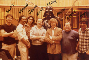 MECO with friends - Scott Litt, Harold Wheeler, Jason Corsaro, Meco, Darth Vader, Maury Yeston, Lance Quinn and Tony Bongiovi at Power Station Studios