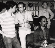 Meco in studio with Tony Bongiovi, Harold Wheeler and writer Albert Goldman