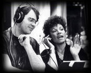 Pattie Brooks and Dan Aykroyd in the Studio