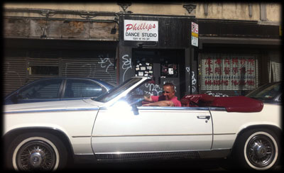 Ralphie in his car outside Phillips Dance Studio