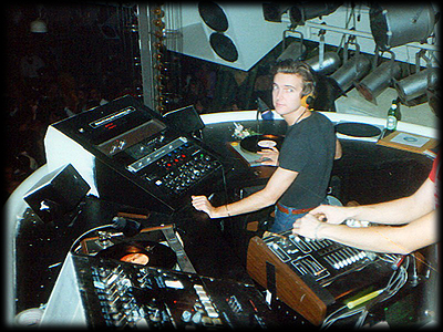 Robbie in the Studio 54 DJ booth